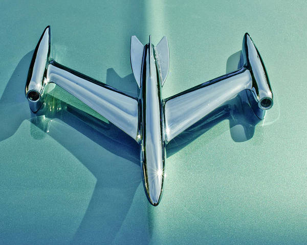 1954 Oldsmobile Super 88 Poster featuring the photograph 1954 Oldsmobile Super 88 Hood Ornament 2 by Jill Reger