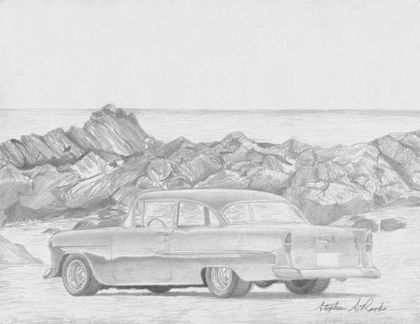 Rooks10904 Drawings Poster featuring the drawing 1955 Chevrolet 210 Classic Car Art Print by Stephen Rooks