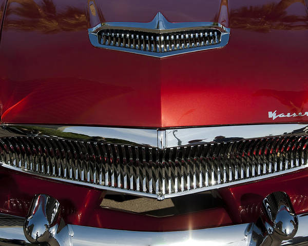 1955 Kaiser Poster featuring the photograph 1955 Kaiser Hood Ornament And Grille by Jill Reger