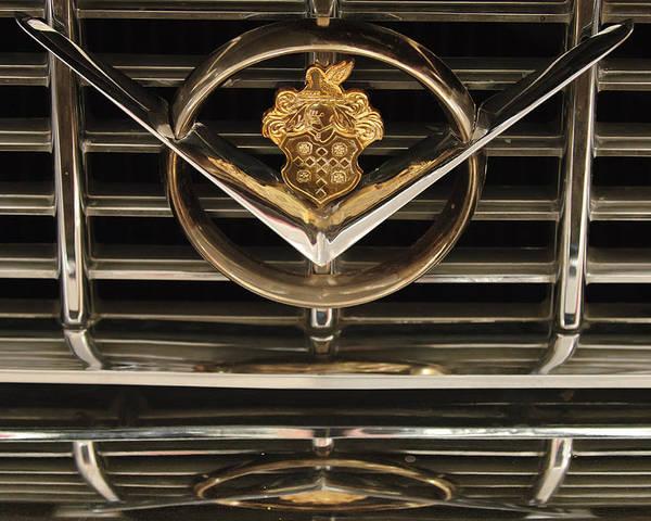 1955 Packard 400 Poster featuring the photograph 1955 Packard Hood Ornament Emblem by Jill Reger
