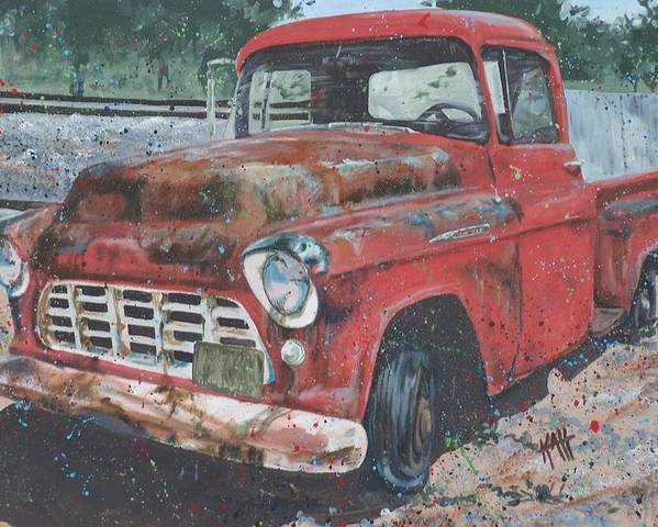 Painting Poster featuring the painting 1956 Chevy Pickup by Les Katt