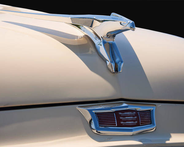 1956 Poster featuring the digital art 1956 Chrysler Soaring Falcon Hood Ornament by Chris Flees