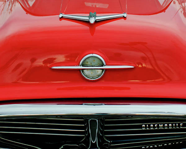 1956 Oldsmobile 98 Poster featuring the photograph 1956 Oldsmobile Hood Ornament 4 by Jill Reger