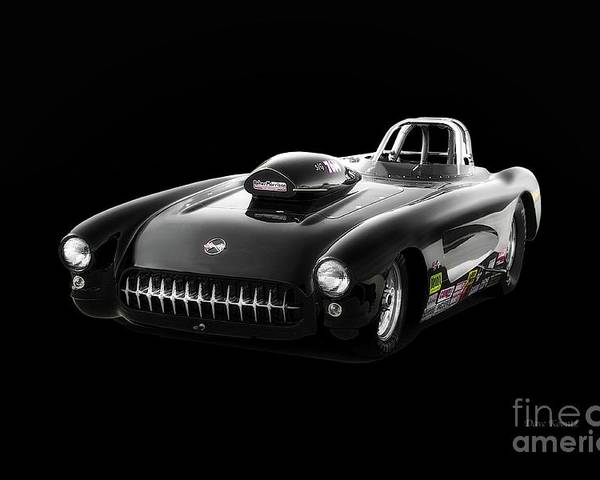 Auto Poster featuring the photograph 1957 Corvette Drag Car by Dave Koontz