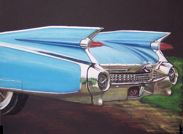 American Classic Car Poster featuring the pastel 1959 Cadillac by Sharon Quarles