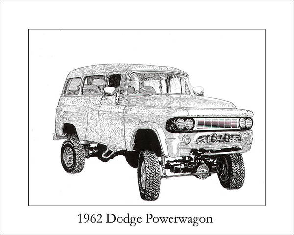 1962 Dodge Powerwagon Poster featuring the drawing 1962 Dodge Powerwagon by Jack Pumphrey
