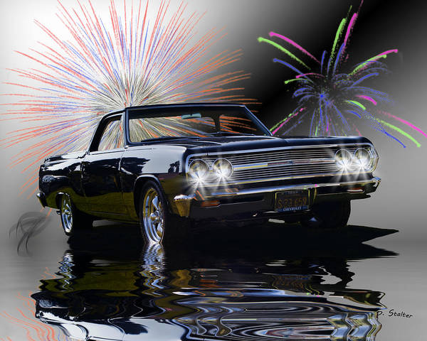 Chevy Poster featuring the digital art 1965 El Camino by Patricia Stalter
