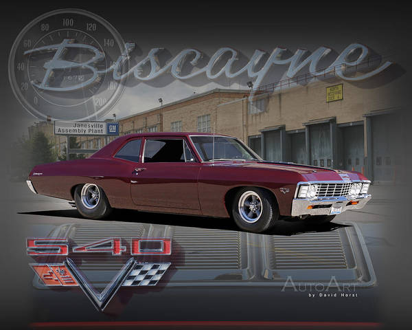 Chevrolet Chevy Biscayne Car Auto Automobile '67 1967 Poster featuring the photograph 1967 Biscayne by David Horst