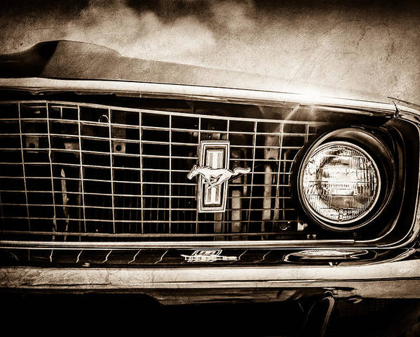 1969 Ford Mustang Grille Emblem Poster featuring the photograph 1969 Ford Mustang Grille Emblem -0129s by Jill Reger