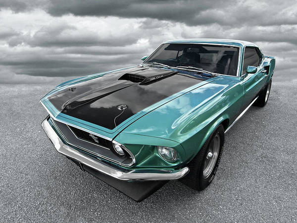 1969 Green 428 Mach 1 Cobra Jet Ford Mustang Poster