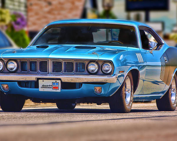 Blue Poster featuring the photograph 1971 Plymouth 'cuda 383 by Gordon Dean II