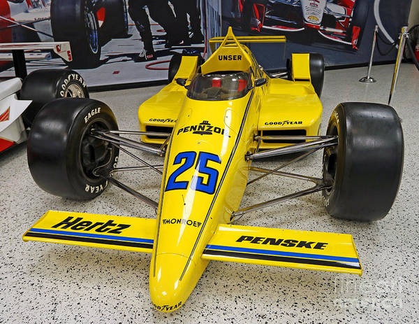 Indianapolis Poster featuring the photograph 1987 Indianapolis 500 Winner Al Unser by Steve Gass