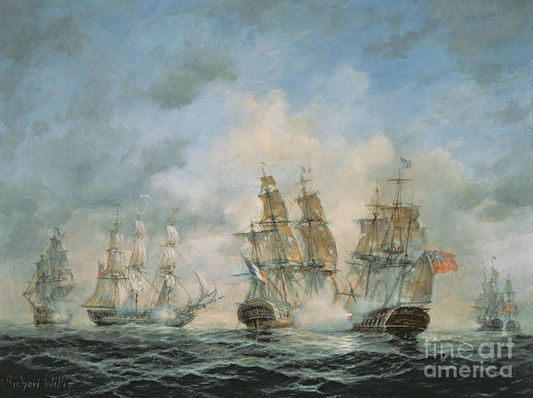 Seascape; Navel; Sea; Ship; Ships; Navel Engagement; Flag; Flags; Cloud; Clouds; Battle; Battling; Sailing; Sailing Ships Poster featuring the painting 19th Century Naval Engagement In Home Waters by Richard Willis