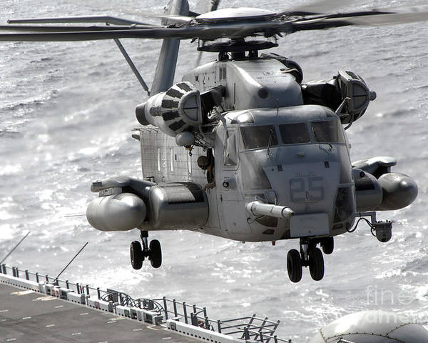 Helicopter Poster featuring the photograph A Ch-53e Super Stallion Helicopter by Stocktrek Images