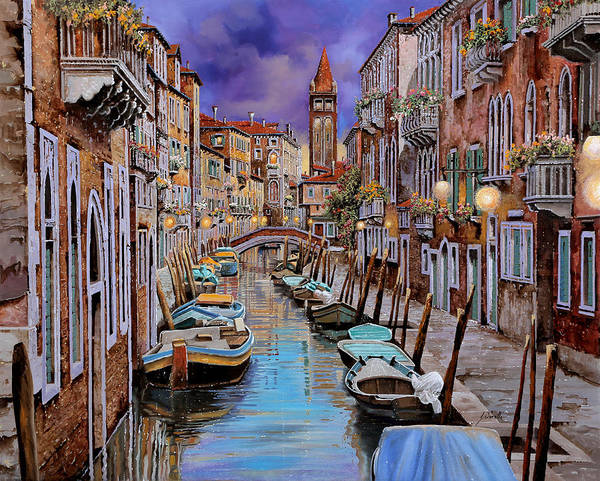 Venezia Poster featuring the painting Quasi L'alba by Guido Borelli