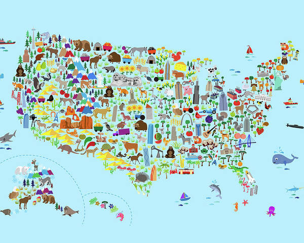 Animal Map Of United States For Children And Kids Poster By Michael - Us-map-poster