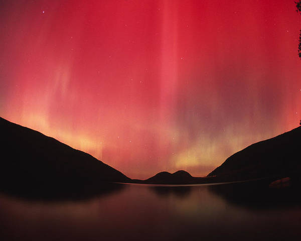 Color Image Poster featuring the photograph Aurora Borealis Over Jordan Pond by Michael Melford