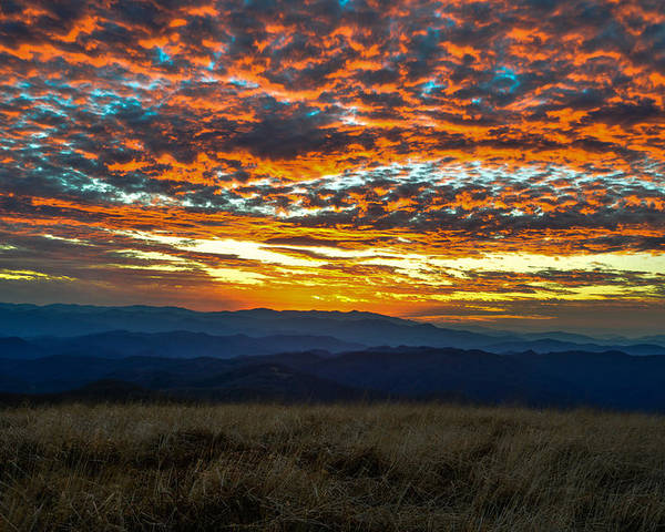 Blue Ridge Mountains Poster featuring the photograph Bald Mountain Sunset by Ryan Phillips