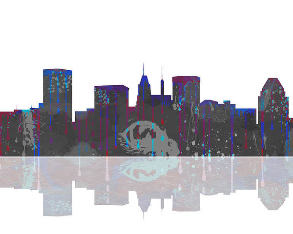Baltimore Maryland Skyline Poster featuring the digital art Baltimore Maryland Skyline by Marlene Watson