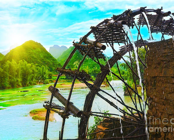Bamboo Poster featuring the photograph Bamboo Water Wheel by MotHaiBaPhoto Prints