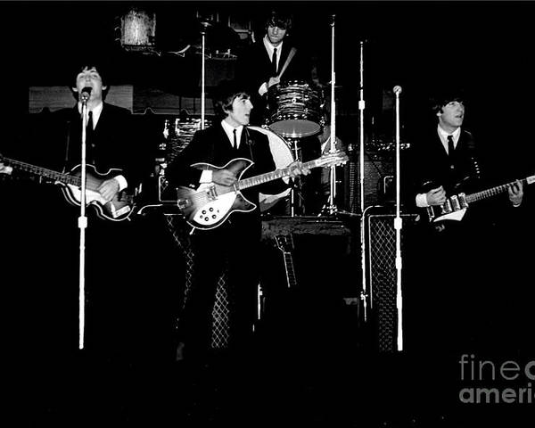 Beatles Poster featuring the photograph Beatles In Concert 1964 by Larry Mulvehill