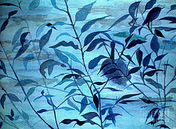 Blue Poster featuring the painting Blue on Blue by Vi Mosley