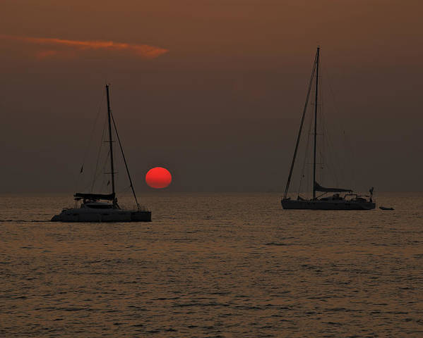 Sun Poster featuring the photograph Boats In The Sunset by Joana Kruse