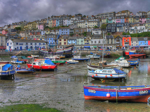 Blue Poster featuring the photograph Brixham Harbour by Mike Lester
