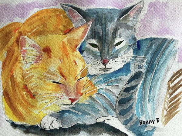 Cat Poster featuring the painting Kitty And Kat by Bonny Butler