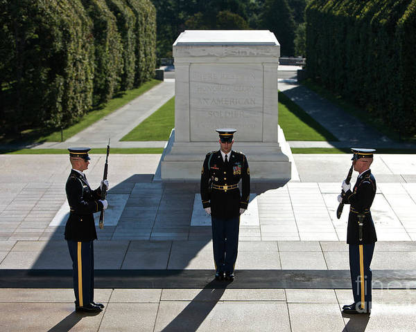 Horizontal Poster featuring the photograph Changing Of Guard At Arlington National by Terry Moore