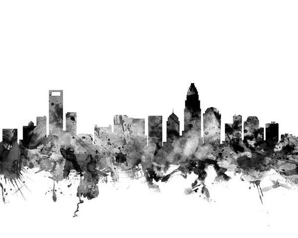 United States Poster featuring the digital art Charlotte North Carolina Skyline by Michael Tompsett