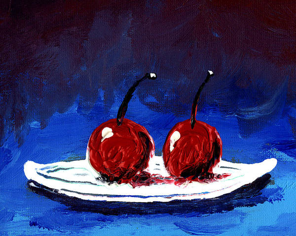 Cherry Poster featuring the painting 2 Cherries On A White Plate by Gary Henderson