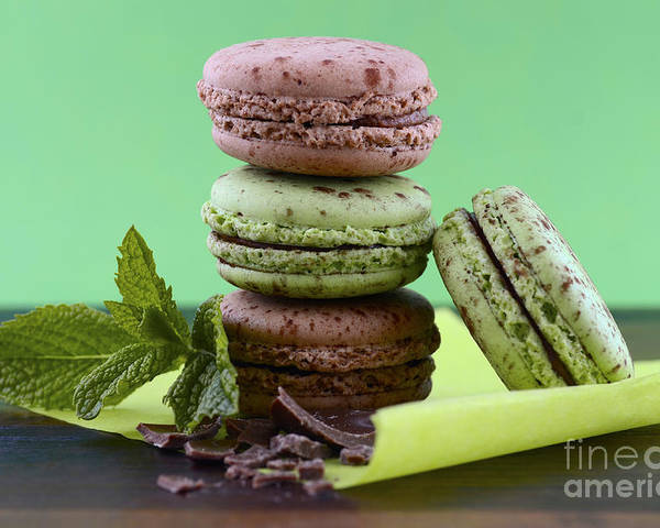 Bake Poster featuring the photograph Chocolate And Mint Flavor Macaroons On Dark Wood Table by Milleflore Images