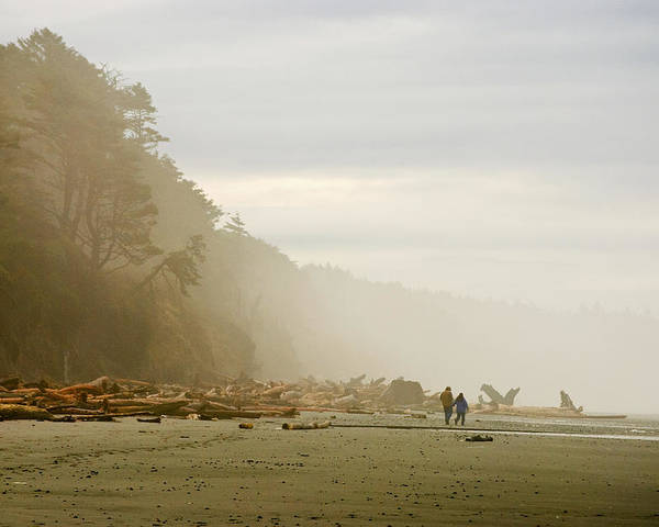 Washington State Olympic Peninsula Pacific Ocean Kalaloch Beach Beaches Seascape Seascapes Solitude Fog Foggy Couple Sand Water Driftwood Poster featuring the photograph Couple On A Foggy Beach by Wilbur Young