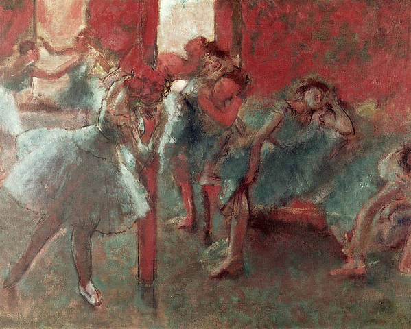 Dancers At Rehearsal Poster featuring the pastel Dancers At Rehearsal by Edgar Degas