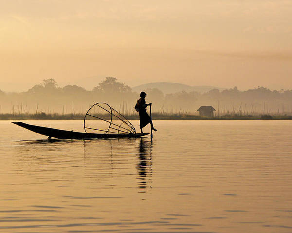 Asia Poster featuring the photograph Dawn On Inle Lake by Michele Burgess