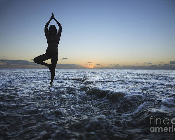 Alone Poster featuring the photograph Female Doing Yoga At Sunset by Brandon Tabiolo - Printscapes