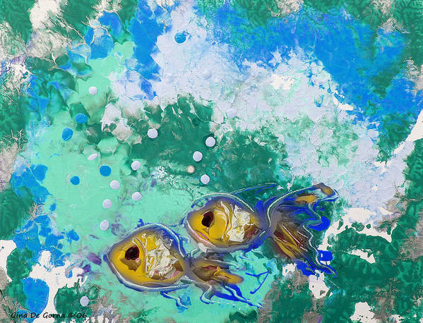 Fish Poster featuring the painting 2 Fish by Gina De Gorna