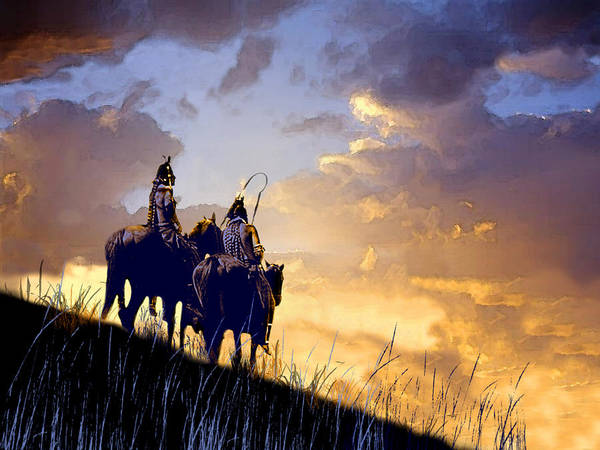 Native Americans Poster featuring the painting Going Home by Paul Sachtleben