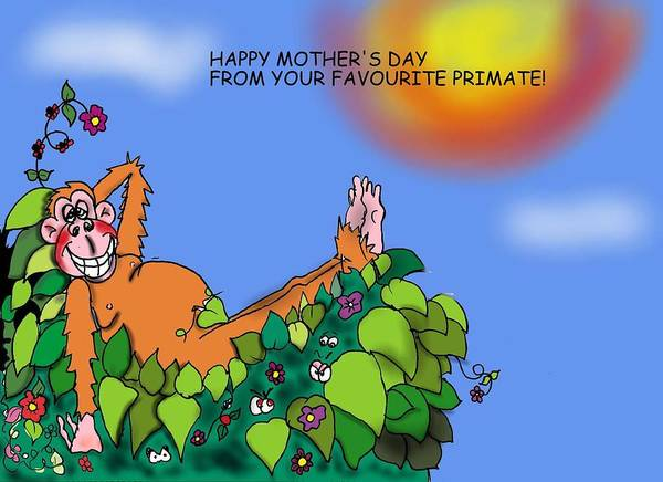 Monkey Poster featuring the digital art Happy Mother's Day by Michael Monroe