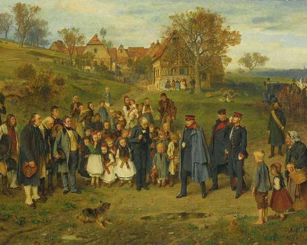 Ludwig Knaus - His Highness On A Journey - 1867 Poster featuring the painting His Highness On A Journey by Ludwig Knaus