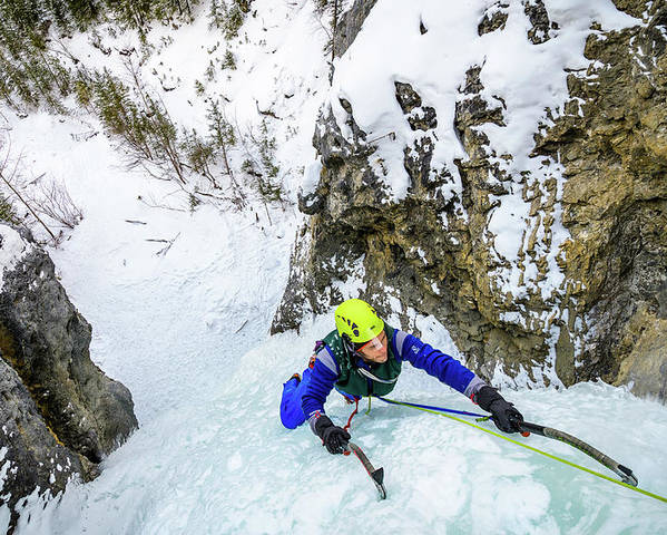 Canada Poster featuring the photograph Ice Climbers On A Route Called Professor Falls Rated Wi4 In Banf by Elijah Weber