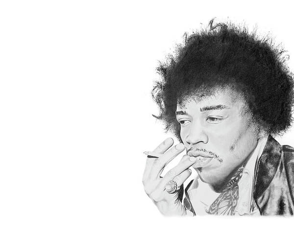 Hendrix Poster featuring the drawing Jimi Hendrix by Don Medina