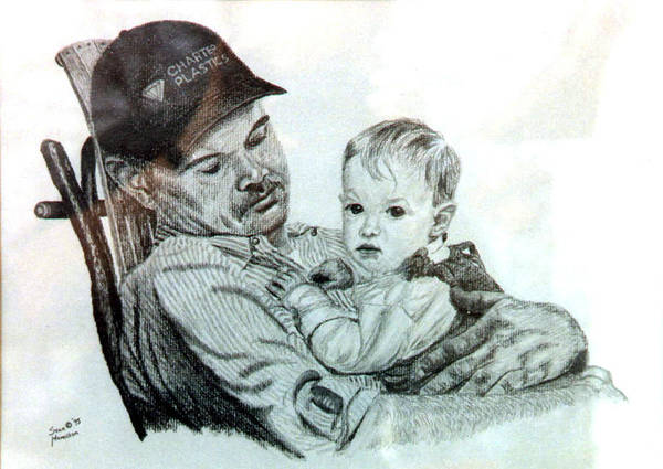 Pencil Portrait Poster featuring the drawing John and Megan by Stan Hamilton