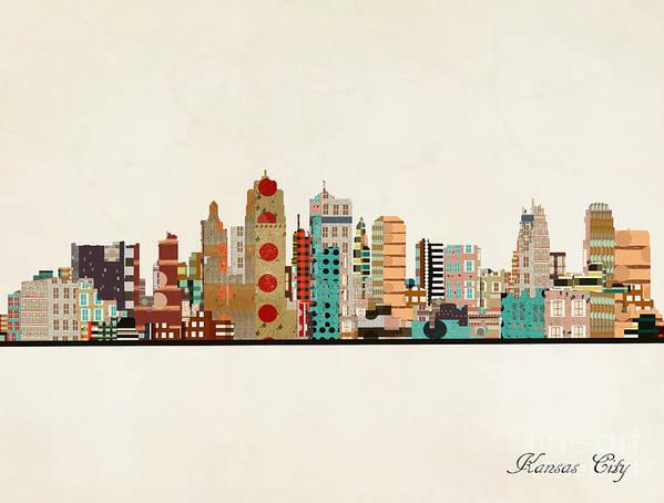 Kansas City Poster featuring the painting Kansas City Skyline by Bri Buckley