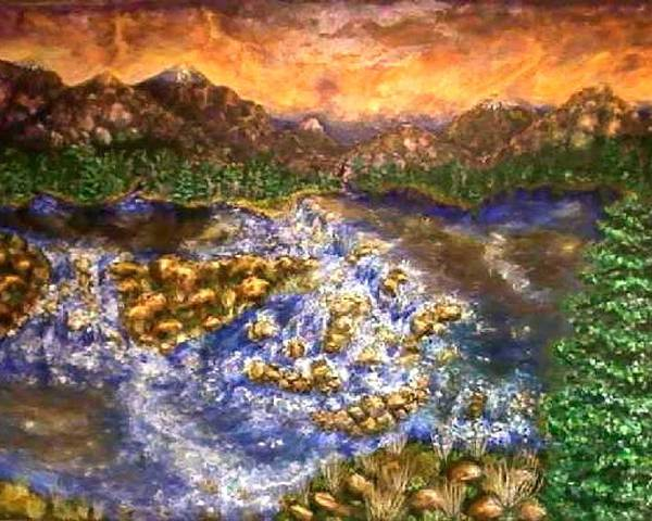 Lake Poster featuring the painting Lake Succession by Tanna Lee M Wells
