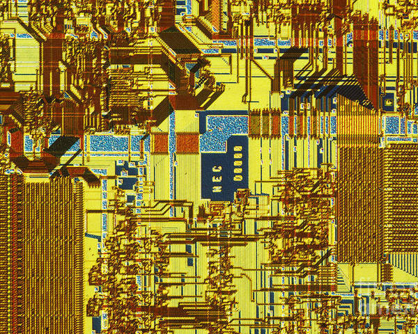 Chip Poster featuring the photograph Microprocessor by Michael W. Davidson