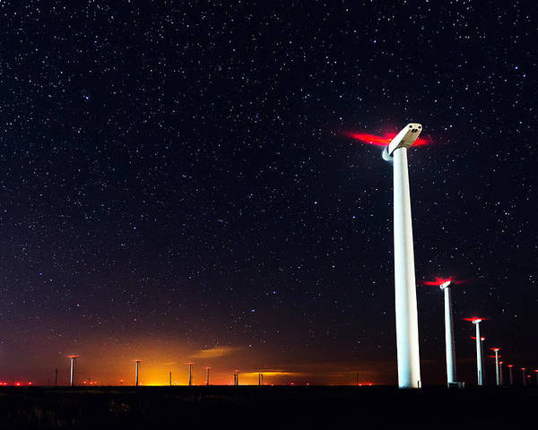 Sky Poster featuring the photograph Milky Way Over The Wind Turbine by Valentin Valkov