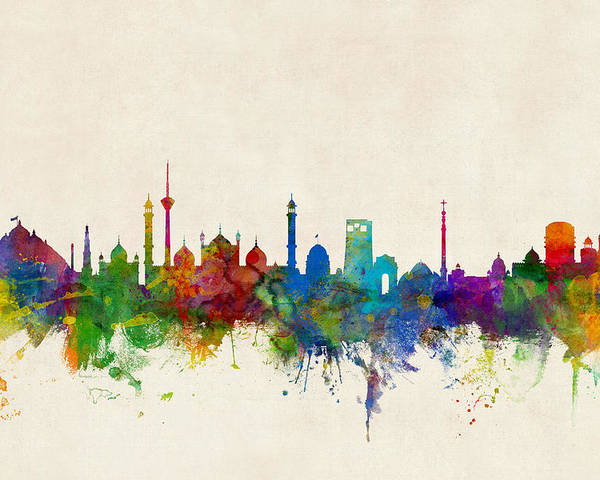 Watercolour Poster featuring the digital art New Delhi India Skyline by Michael Tompsett