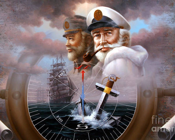 sea Captain Poster featuring the painting News Two Map Captain Or Two Sea Captain by Yoo Choong Yeul